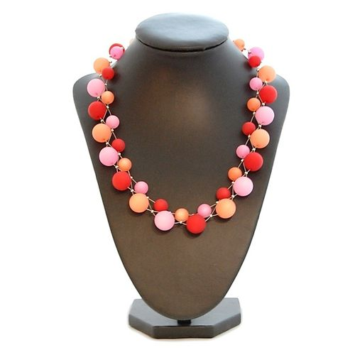 Polaris Collier 3-fach geflochten Rot-Orange-Rosa