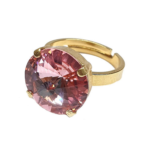 Ring mit Swarovskikristall vergoldet Light Rose